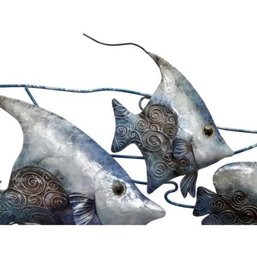 "School of Fish Wall Art - Seafoam - 16.75"" - Metal & Capiz Art - Closeup"