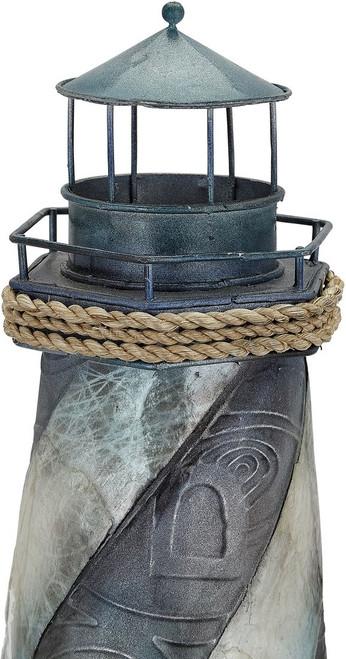 """Seaside Lighthouse - Seafoam - 16.5"""" - Metal & Capiz Art"""