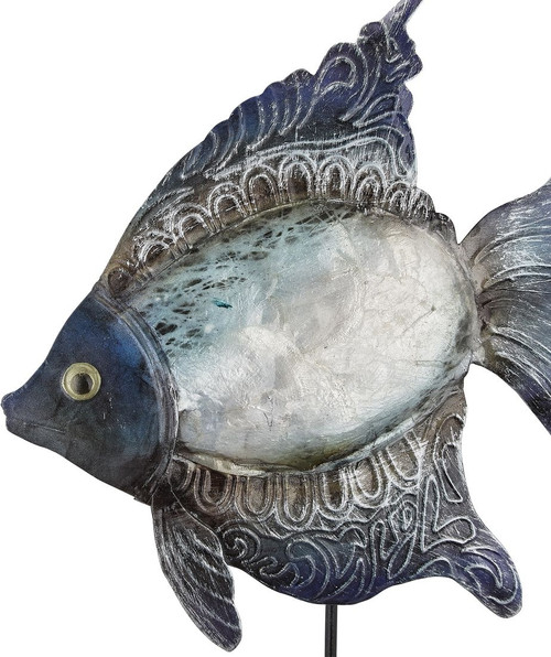 "Angelfish on Stand - Seafoam - 14.5"" - Metal & Capiz Art - Closeup"