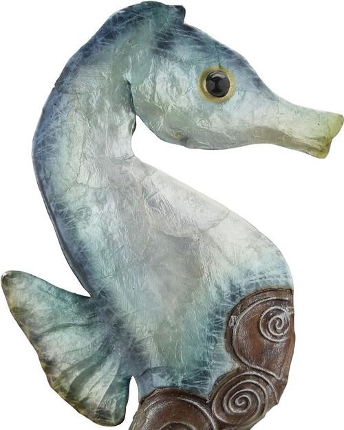 "Seahorse on Stand - Seafoam - 17.75"" - Metal and Capiz Art - CLOSE UP"