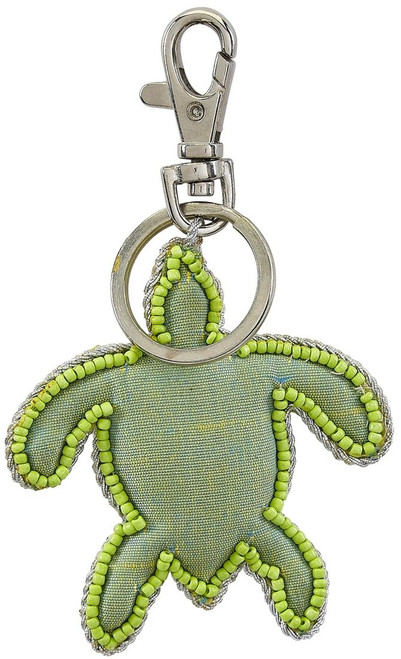 "Green Turtle Key Ring - Mother of Pearl & Beads - 3"" - Back"