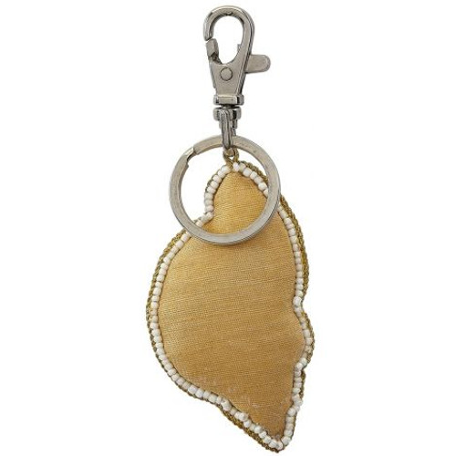 "Gold Triton Key Ring - Mother of Pearl & Beads - 3"" - Back"