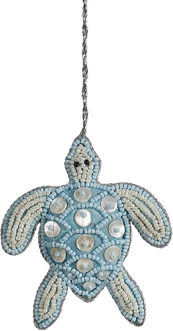 Turtle Mother of Pearl & Beads Ornament - Blue