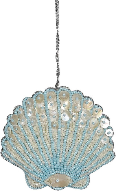 Scallop Mother of Pearl & Beads Ornament - Blue