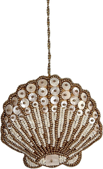 Scallop Mother of Pearl & Beads Ornament - Gold