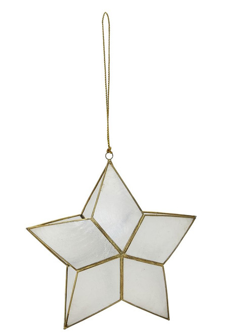 "Capiz 3D Double Star Ornament - 5"" x 2"""