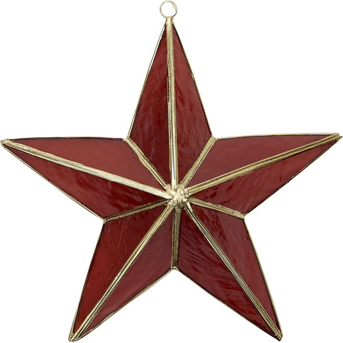 Capiz 3D Star Ornament - Red and Gold