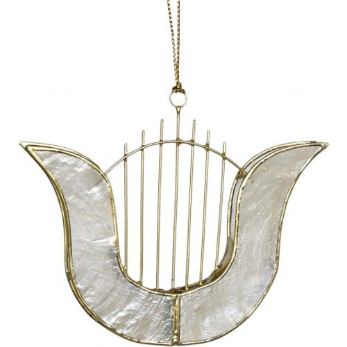 "Capiz Harp Ornament - 3.5"""