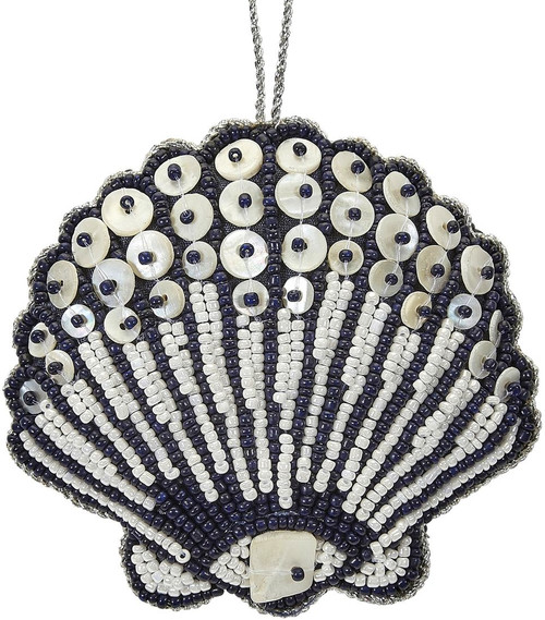 Scallop Mother of Pearl & Beads Ornament - Navy