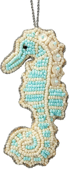 Seahorse Mother of Pearl & Beads Ornament - Blue