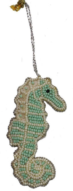 Seahorse Mother of Pearl & Beads Ornament - Mint Green
