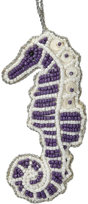 Seahorse Mother of Pearl & Beads Ornament - Purple