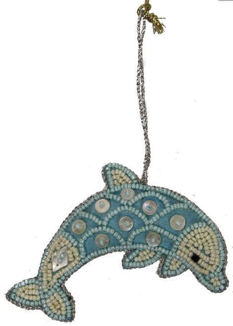 Dolphin Mother of Pearl & Beads Ornament - Blue
