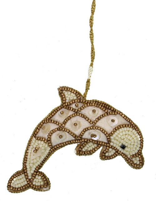 Dolphin Mother of Pearl & Beads Ornament - Gold