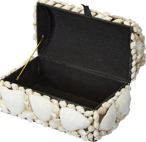 White Seashell Treasure Box - 6""