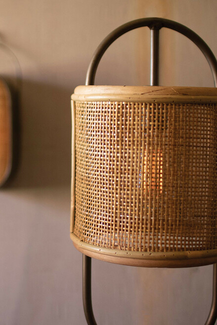 Metal Tabletop Lamp with Round Rattan Shade