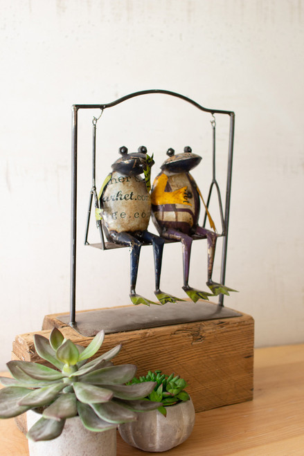 Recycled Metal Frog Duo on Swing