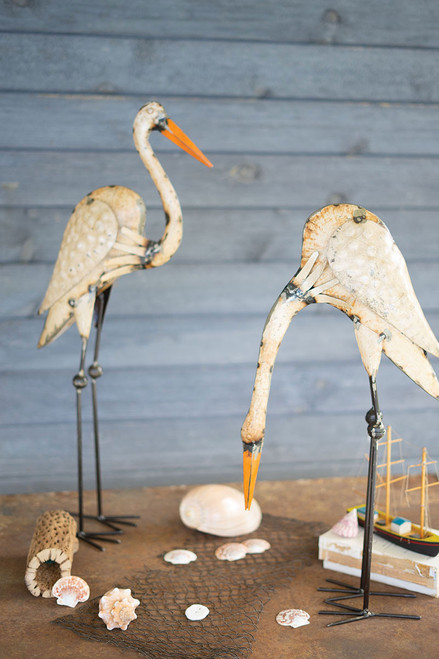 Recycled Metal Egrets - Set of 2