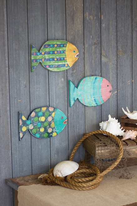Painted Wooden Fish Wall Art - Small - Set of 3