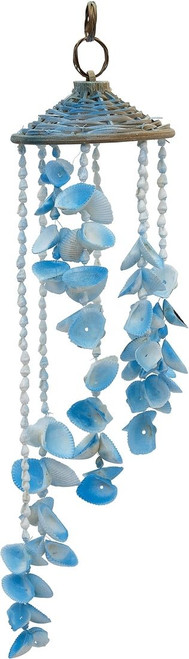"""Colorful Seashell and Rattan Hat Wind Chime - 18"""" - Set of 2"""