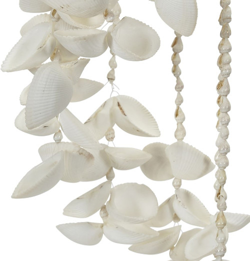 """White Seashell and Rattan Hat Wind Chime - 18"""" - Set of 2"""