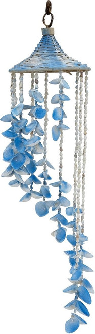 """Colorful Seashell and Rattan Hat Wind Chime - 24"""" - Set of 2"""