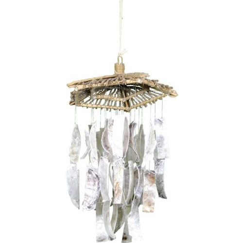 """Placuna Strips with Botay Hat Wind Chime - 16"""""""