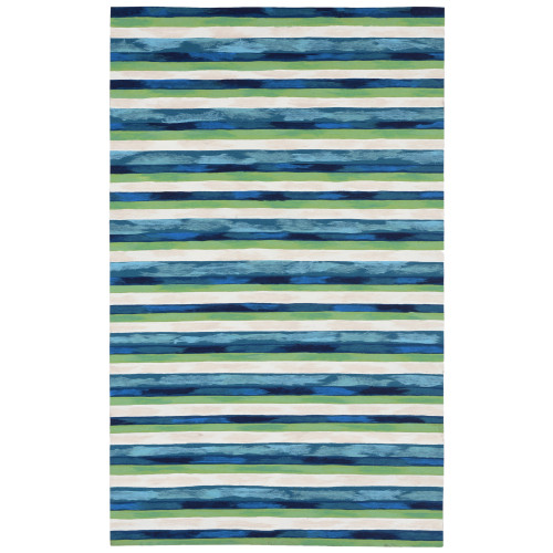 Visions II Painted Stripes Indoor/Outdoor Rug - Cool - 5 Sizes