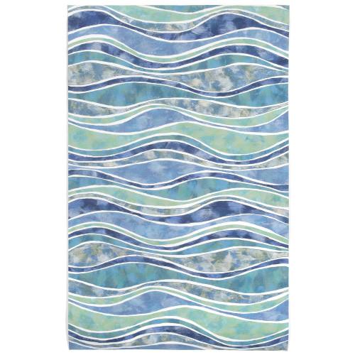Visions III Ocean Wave Indoor/Outdoor Rug - 5 Sizes