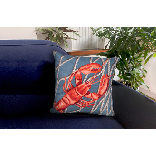 """Illusions Lobster Net Indoor/Outdoor Throw Pillow - 18"""" Square"""