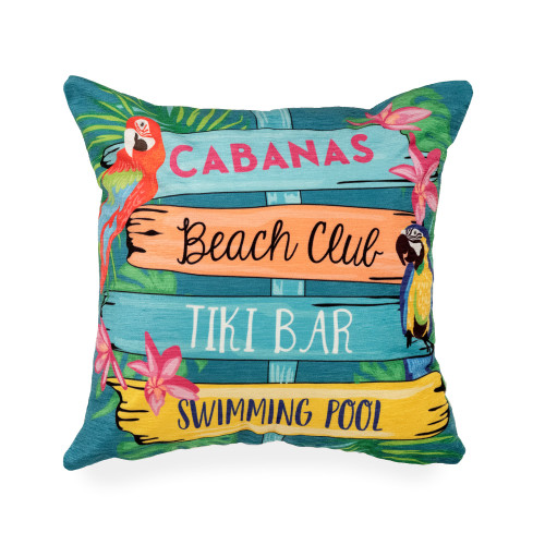 """Illusions Summer Signs Indoor/Outdoor Throw Pillow - 18"""" Square"""