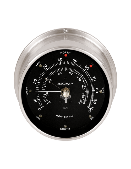 Maestro Wind Speed and Direction Instrument - Satin Nickel Case - Black Face - Reads 0-100 mph