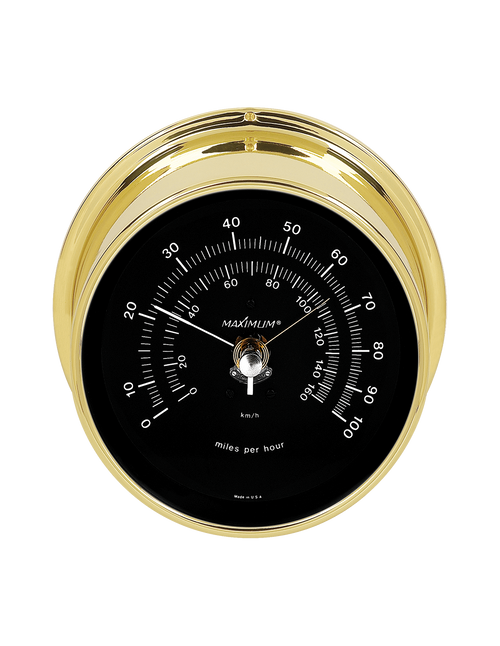Vigilant Wind Speed Instrument - Polished Brass Case - Black Face