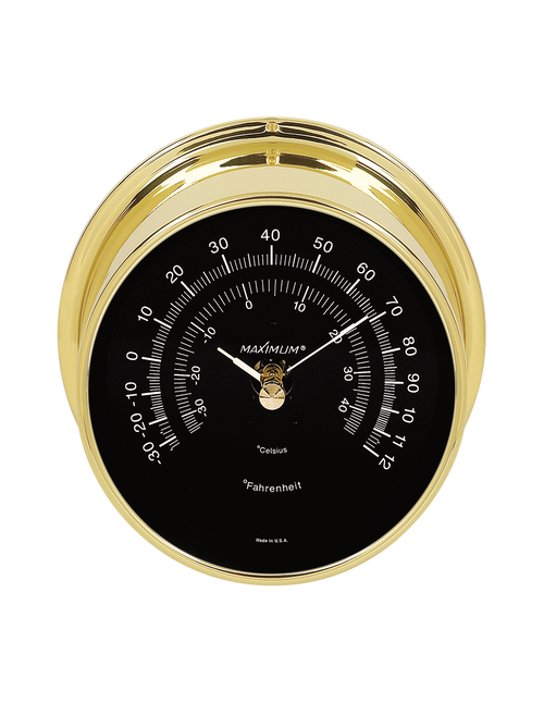 Criterion Air Temperature Reading Instrument - Polished Brass Case - Black Face