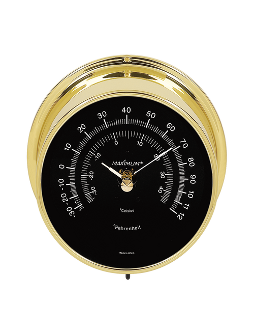 Mini-Max Air Temperature Reading Instrument - Polished Brass Case - Black Face