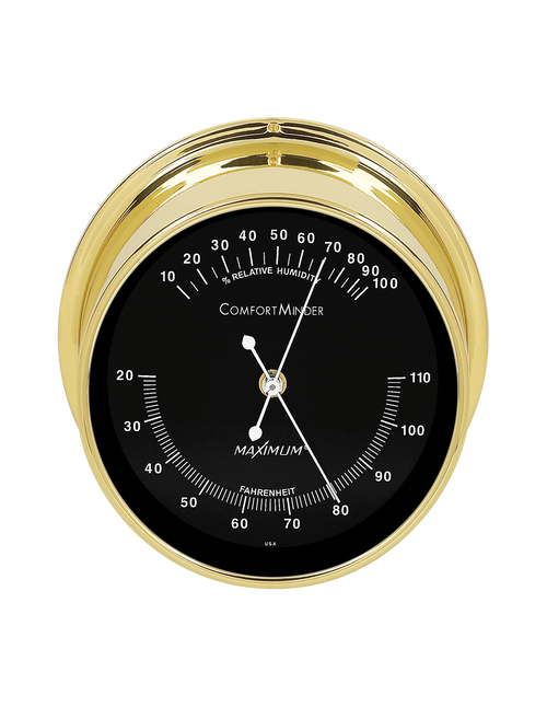 Comfortminder Humidity and Thermometer Comfort Reading Instrument- Polished Brass Case - Black Face