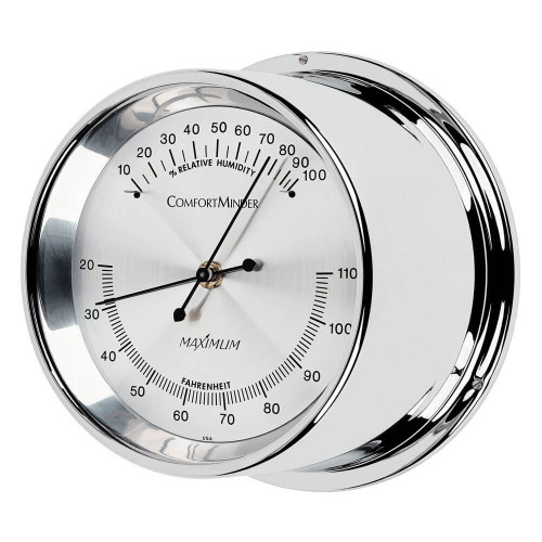 Comfortminder Humidity and Thermometer Comfort Reading Instrument - Polished Chrome Case - Silver Face
