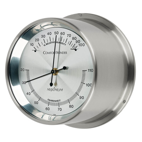 Comfortminder Humidity and Thermometer Comfort Reading Instrument - Satin Nickel Case - Silver Face