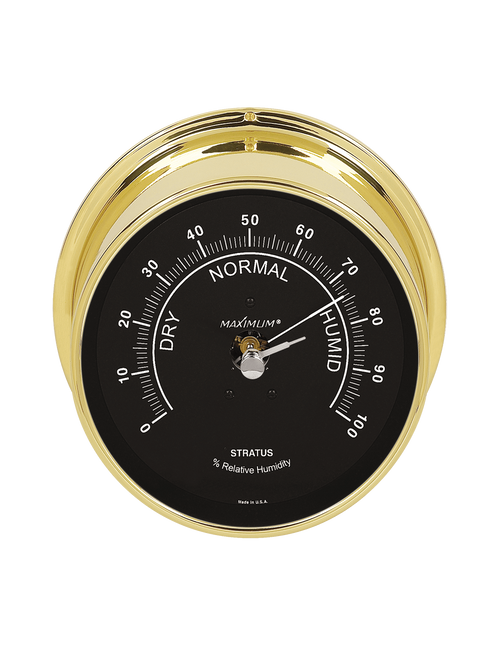 Stratus Relative Humidity Reading Instrument - Polished Brass Case - Black Face