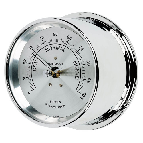 Stratus Relative Humidity Reading Instrument - Polished Chrome Case - Silver Face