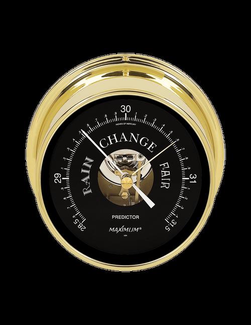 Predictor Barometer Instrument - Polished Brass Case - Black Face