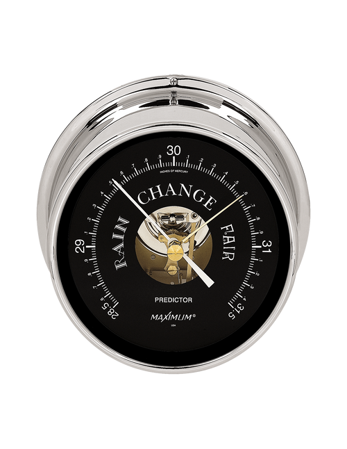 Predictor Barometer Instrument - Polished Chrome Case - Black Face