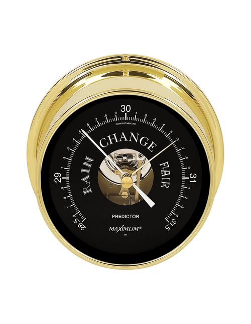 Predictor Barometer Instrument - PVD Coated Brass Case - Black Face