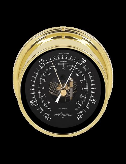Proteus Barometer Instrument - Polished Brass Case  - Black Face