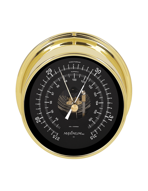 Proteus Barometer Instrument - PVD Coated Brass Case- Black Face