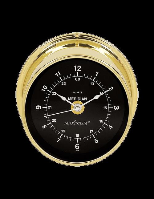 Meridian Time Clock Instrument - Polished Brass Case - Black Face