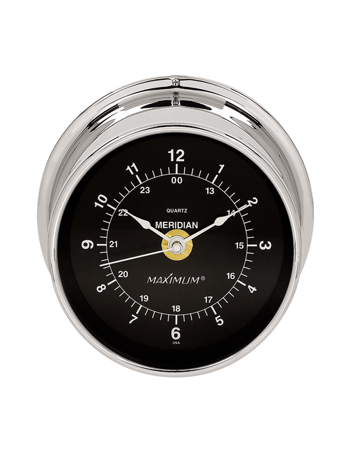 Meridian Time and Tide Clock Instrument - Polished Chrome Case - Black Face
