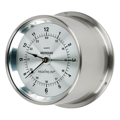 Meridian Time and Tide Clock Instrument - Satin Nickel Case – Silver Face