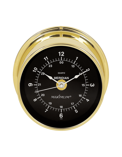 Meridian Time and Tide Clock Instrument - Satin Nickel Case - Black Face