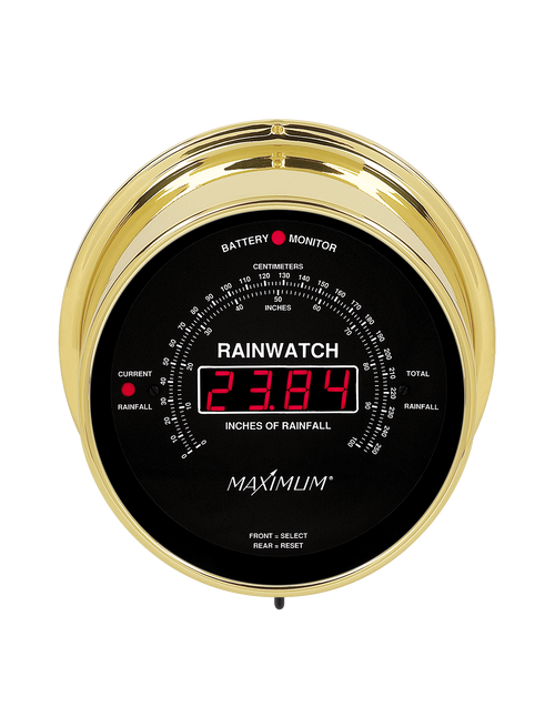 Rainwatch Digital Rain Collector Instrument - Polished Brass Case - Black Face